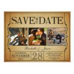 Reserva del boleto del vintage la fecha -- 3 imáge postales