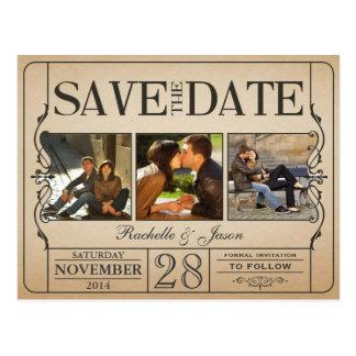 Reserva del boleto del vintage la fecha -- 3 imáge tarjetas postales