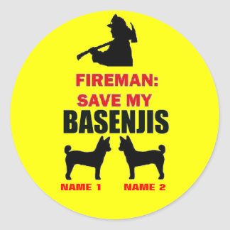 Reserva del bombero mi Basenjis Etiqueta Redonda