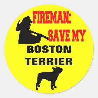 Reserva del bombero mi Boston Terrier Pegatina Redonda