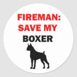 Reserva del bombero mi boxeador pegatina redonda