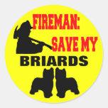 Reserva del bombero mi Briards Pegatinas Redondas