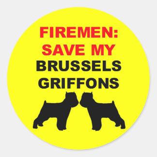 Reserva del bombero mi Bruselas Griffons Pegatina Redonda