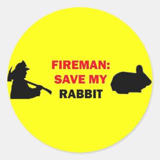 Reserva del bombero mi conejo etiquetas redondas