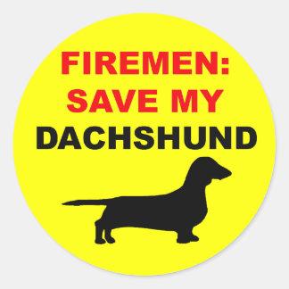Reserva del bombero mi Dachshund Pegatina Redonda
