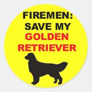 Reserva del bombero mi golden retriever pegatinas redondas