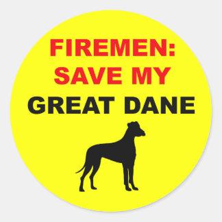 Reserva del bombero mi great dane etiquetas redondas