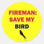 Reserva del bombero mi pájaro etiqueta