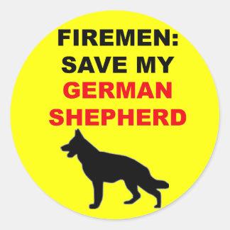 Reserva del bombero mi pastor alemán pegatinas redondas