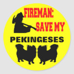 Reserva del bombero mi Pekingeses Pegatina Redonda