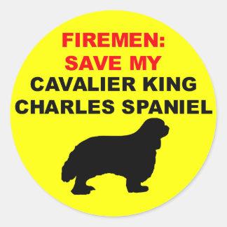 Reserva del bombero mi perro de aguas de rey pegatinas redondas