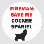 Reserva del bombero mi perro de cocker spaniel pegatinas redondas