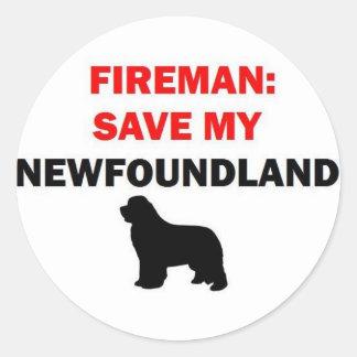 Reserva del bombero mi perro de Terranova Pegatinas Redondas