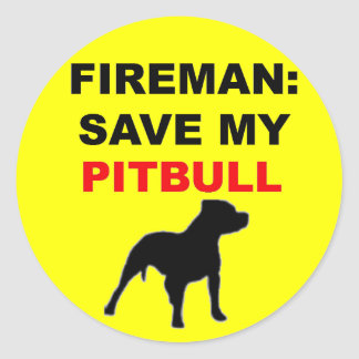 Reserva del bombero mi Pitbull Pegatinas Redondas