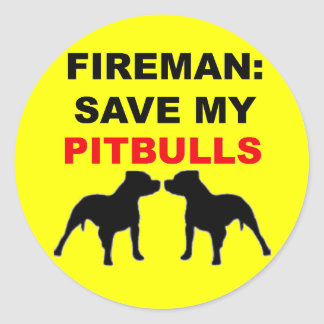 Reserva del bombero mi Pitbulls Etiquetas Redondas