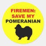 Reserva del bombero mi Pomeranian Pegatina Redonda
