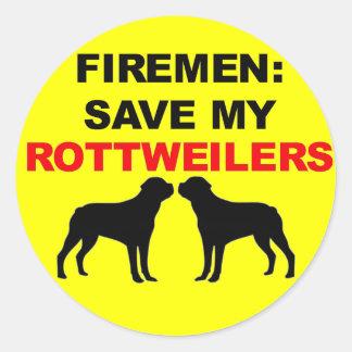 Reserva del bombero mi Rottweilers Pegatina Redonda