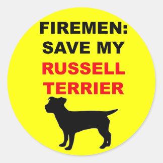 Reserva del bombero mi Russell Terrier Pegatina Redonda