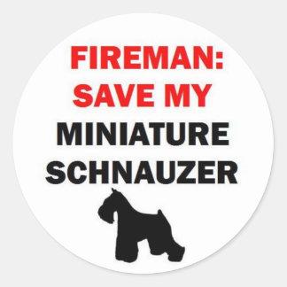 Reserva del bombero mi Schnauzer miniatura Etiquetas Redondas
