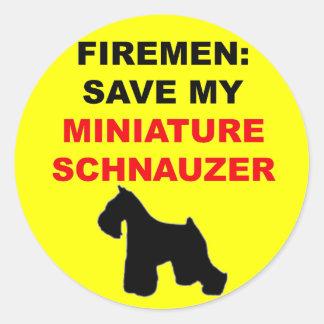 Reserva del bombero mi Schnauzer miniatura Etiqueta