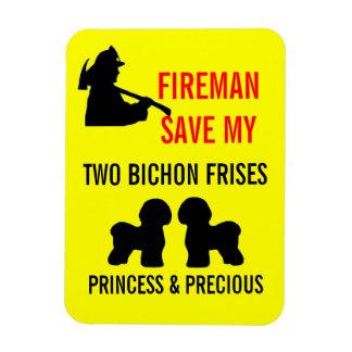 Reserva del bombero mi seguridad de dos Bichon Fri Rectangle Magnet