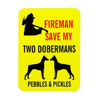 Reserva del bombero mi seguridad de dos Dobermans Iman De Vinilo