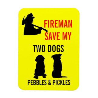 Reserva del bombero mi seguridad de dos perros rectangle magnet