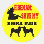 Reserva del bombero mi Shiba Inus Pegatina Redonda