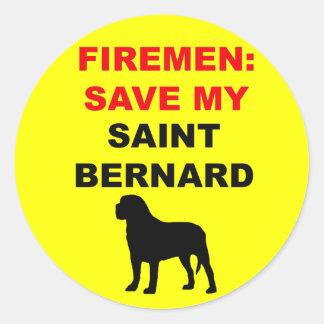 Reserva del bombero mi St Bernard Pegatina Redonda