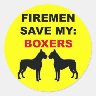 Reserva del bombero mis boxeadores pegatina redonda