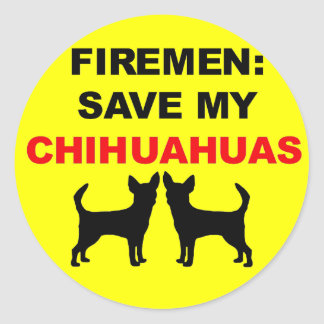 Reserva del bombero mis chihuahuas pegatina redonda