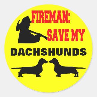 Reserva del bombero mis Dachshunds Pegatina Redonda