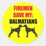 Reserva del bombero mis Dalmatians Pegatina Redonda