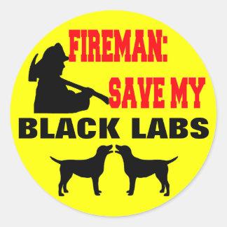 Reserva del bombero mis laboratorios negros pegatina redonda