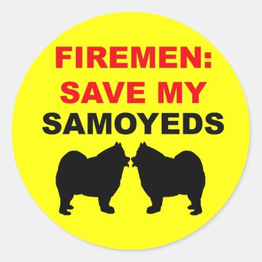 Reserva del bombero mis samoyedos pegatina redonda