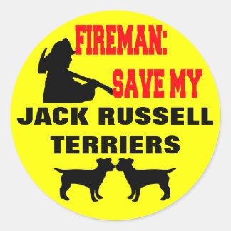 Reserva del bombero mis terrieres de Jack Russell Pegatina Redonda