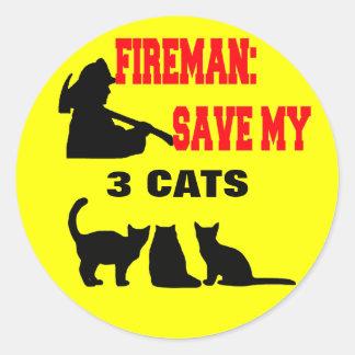 Reserva del bombero mis tres gatos pegatina redonda