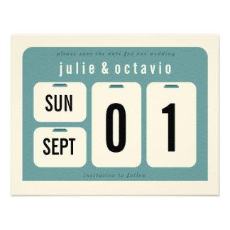 Reserva del calendario perpetuo la tarjeta de fech invitación personalizada