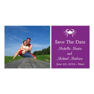 Reserva del cangrejo la fecha Photocard (púrpura d Tarjetas Fotográficas