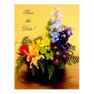 Reserva del centro de flores del arco iris la fech tarjeta postal