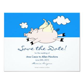 """Reserva del cerdo del vuelo la fecha invitación 4.25"""" x 5.5"""""""