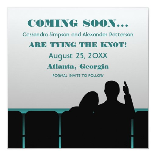 """Reserva del cine del trullo la fecha invitación 5.25"""" x 5.25"""""""
