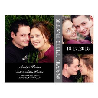 Reserva del collage del compromiso la invitación d tarjeta postal