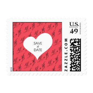 Reserva del corazón del monograma la fecha sello