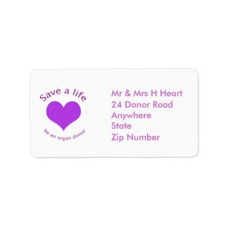 Reserva del corazón púrpura etiquetas de una etiquetas de dirección