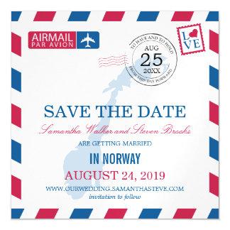 Reserva del correo aéreo de Noruega la fecha Invitaciones Magnéticas
