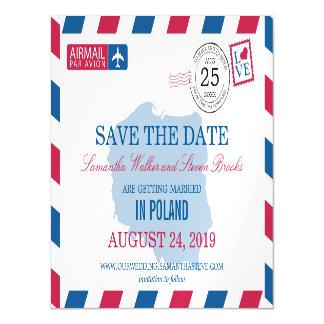 Reserva del correo aéreo de POLONIA la fecha Invitaciones Magnéticas