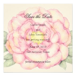 Reserva del cuadrado el Peony del rosa de la fecha Invitación