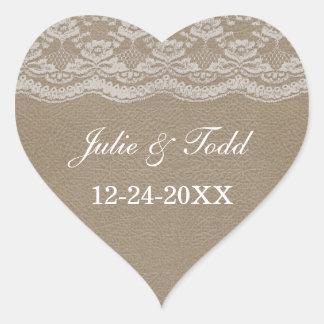 Reserva del cuero y del boda del cordón la fecha pegatina en forma de corazón