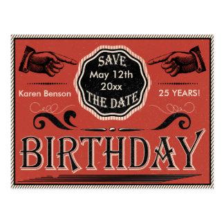 Reserva del cumpleaños del vintage la fecha postal